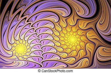 fantástico, ilustração, fundo, noturna, flores, fractal, ...