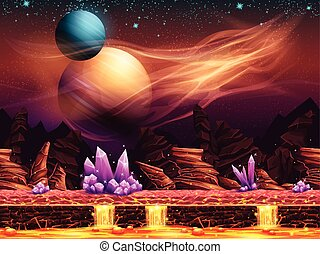 fantástico, -, ilustración, planeta, rojo, paisaje