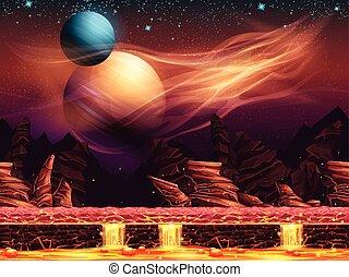fantástico, -, ilustración, rojo, planetas, paisaje