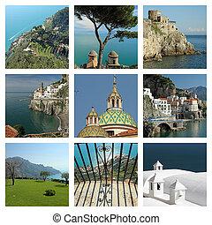 fantástico, italia, collage, amalfi, -, costa, imágenes