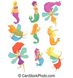 fantástico, jogo, coloridos, peixe, fadas, fairy-fairy-tale, asas, sereias, rabo, caráteres, caricatura, criaturas