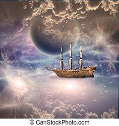fantástico, lleno, navegación, escena, barco, velas