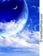 fantástico, nuvens, céu, três, planetas, branca