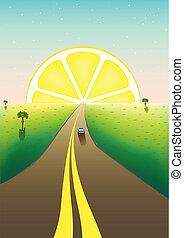 fantástico, paisaje, camino, a, el, horizonte, fruta cítrica, sunrize, en, el, cielo estrellado, vertical, vector, ilustración