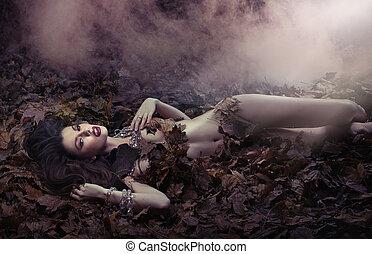 fantástico, tiro, de, sensual, mulher, ligado, a, leaf's, duvet