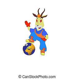 fantástico, vector, goat., ilustración