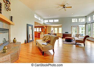 fantástico, vida moderna, sala, lar, interior.