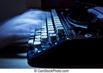 fantôme, écriture, vieux, machine écrire