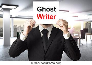 fantôme, écrivain, signe, derrière, homme affaires, figure,...