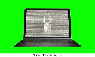 fantôme, 76, âme, computer.