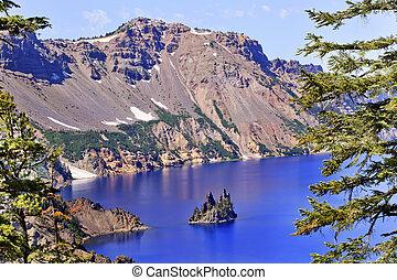 fantôme, bateau, île, lac cratère, reflet, ciel bleu, orégon