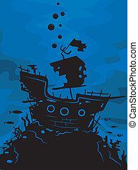 fantôme, bateau, silhouette
