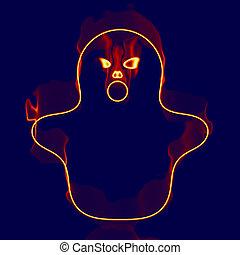 fantôme, brûler, halloween