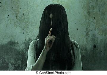 fantôme, effrayant, femme, maison hantée