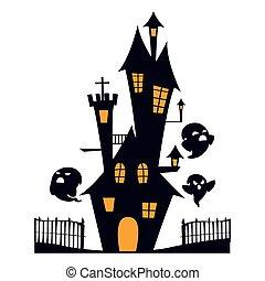 fantôme, enchanté, château, scène
