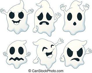 fantôme, ensemble, halloween, dessin animé