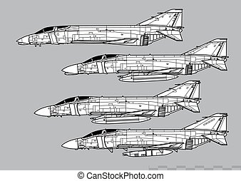 fantôme, f-4c, vecteur, ii., contour, douglas, f-4d, ...