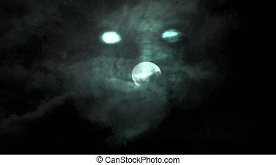 fantôme, girl, entiers, sur, lune