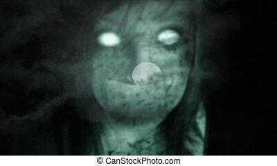 fantôme, girl, lune, entiers