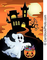 fantôme, halloween, château, hanté