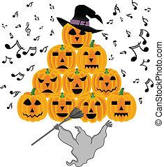 fantôme, halloween, potirons, chant