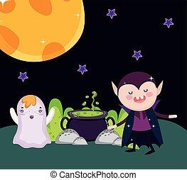 fantôme, halloween, sortilège, chaudron, dracula