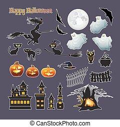 fantôme, lune, halloween, set., citrouille, vecteur, sorcière, stickers., chat