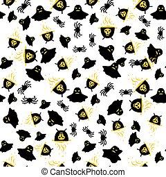 fantôme, modèle, araignés, seamless, cauldron.