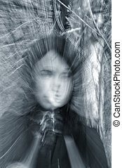 fantôme, portrait, girl