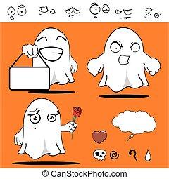 fantôme, rigolote, dessin animé, set1
