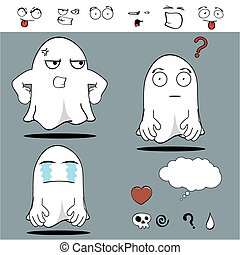 fantôme, rigolote, dessin animé, set2
