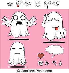fantôme, rigolote, dessin animé, set3