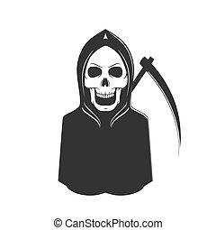 fantôme, squelette, mort, signe., faux, mal, horreur