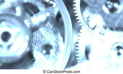 fantôme, tourner, vieux, engrenage, mécanisme horloge, machine, coutil, chronomètre, hologramme