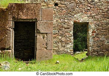 fantôme, ville, vieux,  passage, top secret, portes, brique