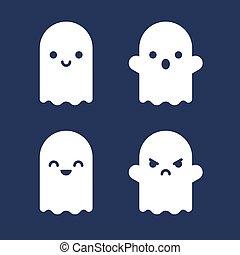 fantômes, ensemble, dessin animé