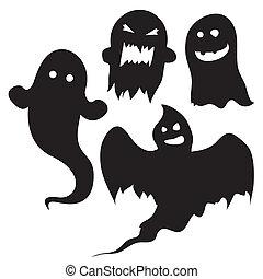 fantômes, vecteur, halloween, silhouettes