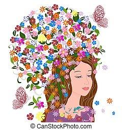 fantaisie, cheveux, conception, joli, floral, girl, ton