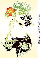fantaisie, femme, fleur, illustration