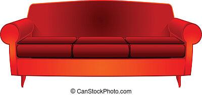 fantaisie, rouges, divan