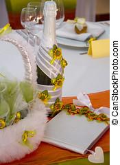 fantaisie, table, ensemble, pour, a, mariage