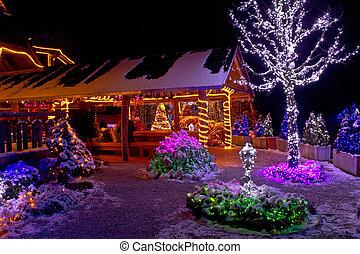 fantasía, árbol, -, luces, logia, navidad