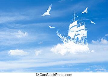 fantasía, barco, nubes