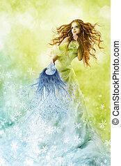 fantasía, belleza, moda, mujer, cambio, estaciones, invierno, maquillaje, máscara, a, primavera, hairstyle., creativo, hermoso, niña, peinado, verde, verano, fondo.