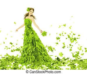 fantasía, belleza, moda, mujer, en, estaciones, primavera, hojas, dress., creativo, hermoso, niña, en, verde, verano, bata, encima, blanco, fondo.