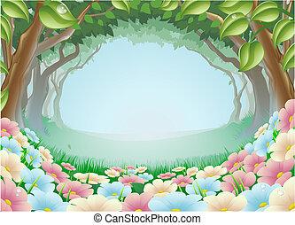 fantasía, bosque, escena