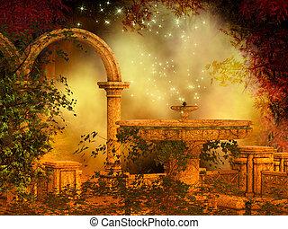 fantasía, bosque, escena, mágico