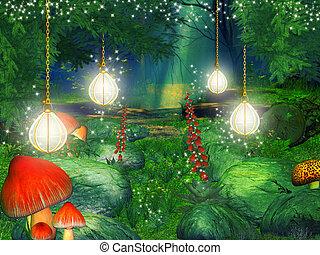 fantasía, bosque, ilustración