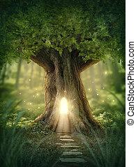 fantasía, casa, árbol
