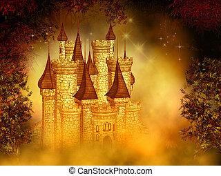 fantasía, castillo, mágico
